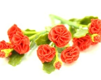 Miniature Polymer Clay Flowers Supplies CARNATIONS for Dollhouse 3 bunches