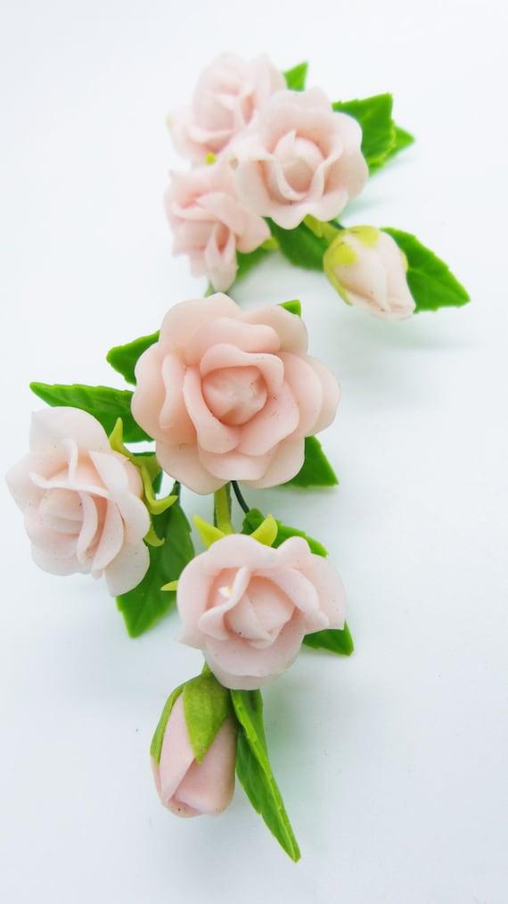 1:12 Dollhouse Miniature DIY Garden Clay Flowers Arrangement PinkRose Re NEW