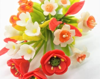 POPPY DAFFODIL PANSY Miniature Polymer Clay Flowers Bouquet Supplies for Dollhouse and Handmade Gifts 1 bunch