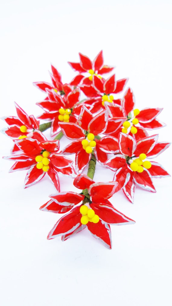 Poinsettia Bush Dollhouse Miniature Flower clay handmade Garden Decor Collect