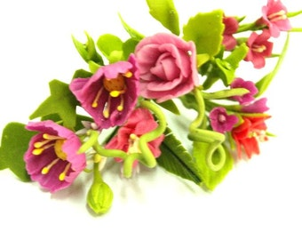 Miniature Polymer Clay Flowers Bouquet Supplies for Dollhouse and Handmade Gifts 12 bunches