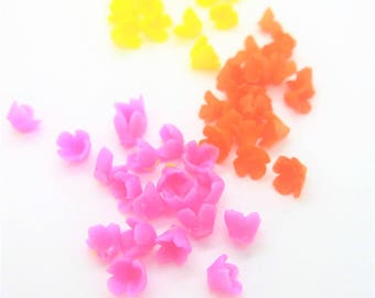 Tiny Miniature Polymer Clay Flowers Supplies for Dollhouse, set of 60 pieces, assorted