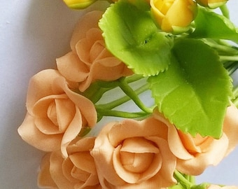 Miniature Roses Polymer Clay Flowers Supplies for Handmade Gifts, assorted 12 stems