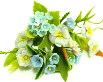 Miniature Polymer Clay Flowers Blue Hydrangea Bouquet Supplies for Dollhouse and Handmade Gifts 12 bunches
