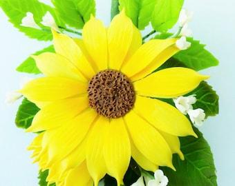 Handmade Miniature Polymer Clay Supplies Sunflower Bouquet