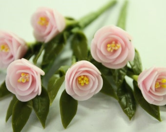 Miniature Polymer Clay Flowers Supplies for Dollhouse Soft Pink Peony with leaves, 3 Bunches