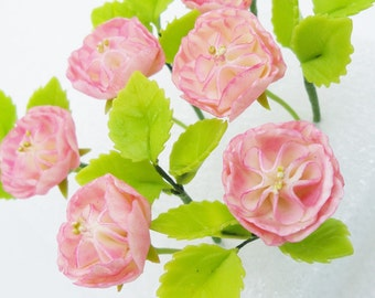 Miniature Polymer Clay Flowers Eternity Pink Roses with Leaves, set of 12 stems