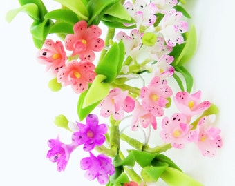 Handmade Polymer Clay Flowers Supplies Tropical Orchid with leaves, Vanda 10 sets