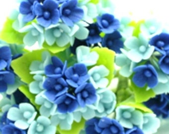 Miniature Polymer Clay Flowers Supplies for Dollhouse Blue Hydrangea 3 bunches