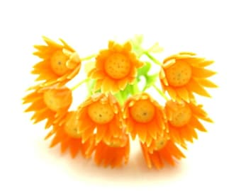 Miniature Polymer Clay Flowers Orange Gerbera with Leaves, 6 stems