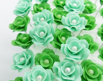 Miniature Roses Handcrafted Clay with Pearl bead, 12 pieces.