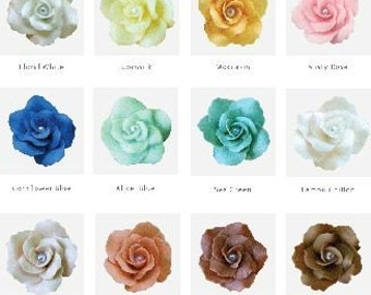 Handcrafted Miniature Roses Polymer Clay Flowers, assorted 50 pcs