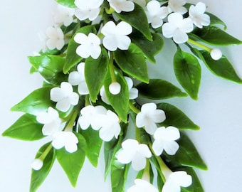Miniature Polymer Clay Flowers Supplies for Dollhouse, White Jasmine with leaves, 3 Bunches
