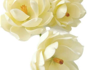 6 Ivory Magnolia Polymer Clay Handmade Flowers for Wedding Gifts