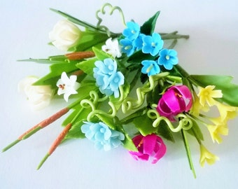 Miniature Polymer Clay Supplies Sweet Blue and Pink Flowers 12 bunches