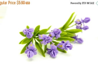 Miniature Polymer Clay Flowers Supplies Purple Iris 3 bunches