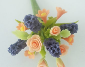 Miniature Polymer Clay Flowers Bouquet, Roses and Hyacinth, Supplies for Dollhouse and Handmade Gifts 1 Bunch