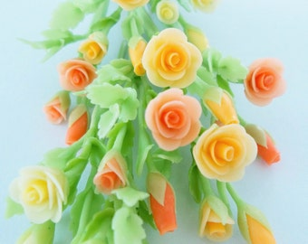 Miniature Polymer Clay Flowers Supplies Roses Bouquet for Dollhouse 6 bunches, assorted