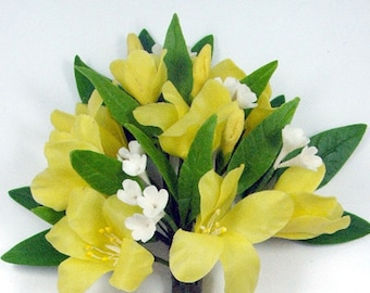 Polymer Clay Flowers Supplies Yellow Jasmine for Bouquet and Handmade Gifts