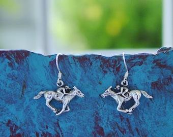 HIGH QUALITY 18K ROSE GOLD /& ENAMEL HORSE EARRINGS Great gift for horse lovers