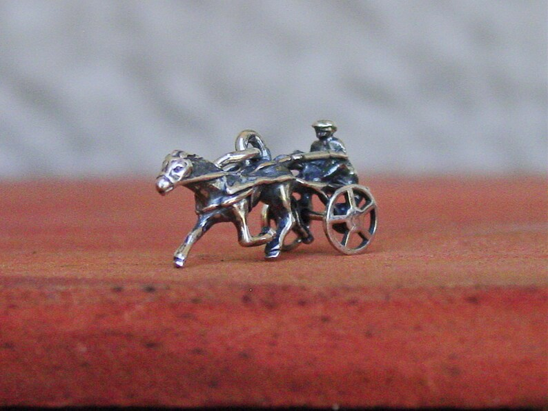Harness Racing Moving Sulky Wheel Trotter Pendant Sterling Silver With  Black Cord,Equestrian Pendant,Horse Necklace