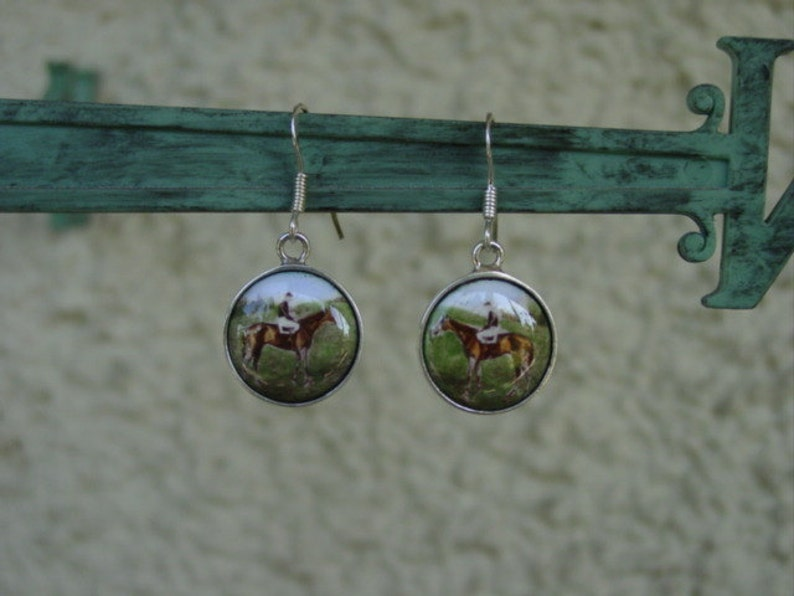 Equestrian Earrings Horse Sterling Silver Horse Earrings Equestrian Jewelry Man O/' War Race Horse Enamel Earrings Horse Gifts