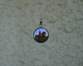 Horse Hunt Scene Enamel Pendant Equestrian Sterling Silver with Chain,Equestrian Necklace,Horse Jewelry