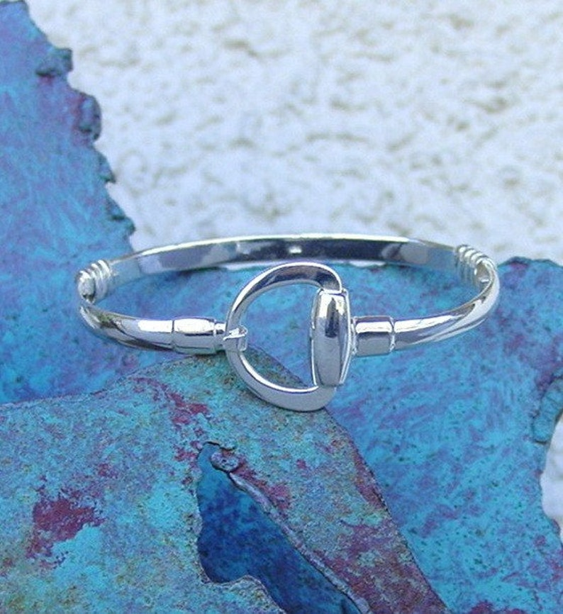 Dee Bit Ring Bangle Bracelet Sterling Silver,Equestrian Jewelry,Equestrian Bangle Snaffle Bit Bangle