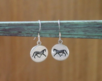Equestrian Silhouette Horse Earrings Sterling Silver,Equestrian Jewelry,Horse Jewelry