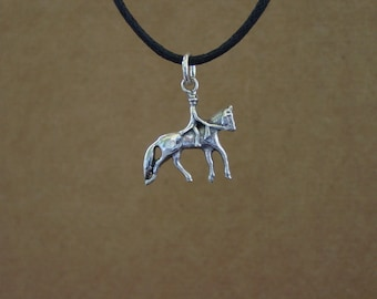Dressage Horse and Rider Pendant Sterling Silver with Black Cord,Equestrian Pendant Horse Necklace Equestrian Jewelry