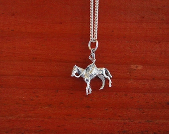 Sidesaddle Women Riding Horse Sterling Silver Pendant Rare and Hard to Find,Equestrian Pendant