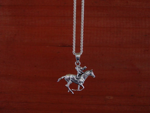 Jumping Horse with Jockey Pendant Necklace Equestrian 925 Sterling Silver