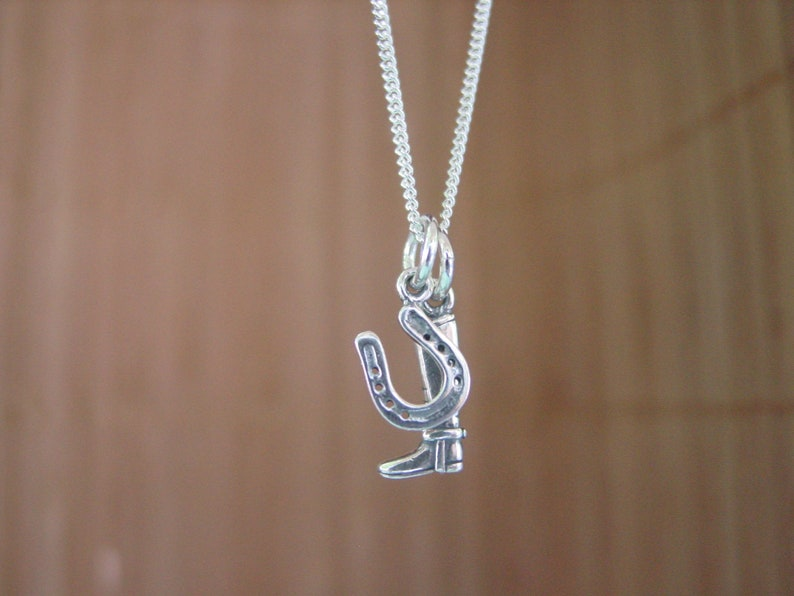 Cowgirl Necklace Horse Necklace Equestrian Charm Boot and Horseshoe Pendant Equestrian Jewelry Silver Horse Charm Pendant