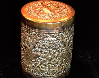 Old Silvered Box With Cambodian - Khmer Designs