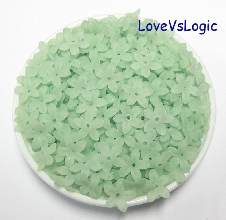 360 Acrylic Long Petal Flower Beads Wholesale Matte Light Green.