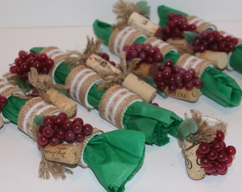 Wine Grape Bundle/Cork Napkin Rings Set of 12