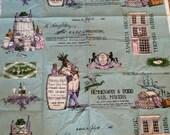 Vintage Fabric Merchant 39 s Row Screen Printed 1852 Print Grocery Coffee Tea Tobacco Wine Native American Ship 50 39 s Mid Century Sewing Decor