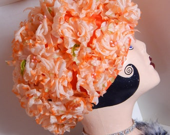 Vintage Hat Orange Flowered Headpiece Hat Many Millinery Flowers Full Cap 60's Mid Century Fashion Union Label Kinda Kitschy