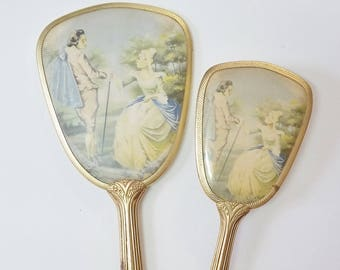 Vintage Mirror & Brush Vanity Set Pastel Painting Old European Royalty Gold Frame 40's 50's Mid Century Fashion Beauty Cosmetics Shabby Chic