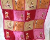 Pink and Red Silk Graphic Head Scarf with Pinup Girls Getting Ready for a Date Illustration Rotary Phone Peach Squares Handkerchief