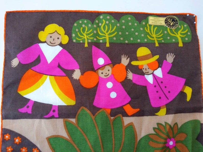 Vintage Cotton Handkerchief Gerbrend Creations Woven Switzerland Embroidered /& Hand Rolled Portugal 70/'s Fashion Bright Fairy Tale Turtle