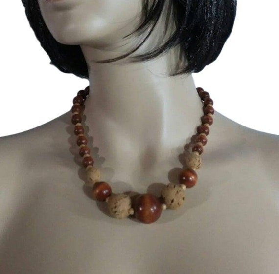 Vintage Necklace Wood & Cork Beads Natural Brown T