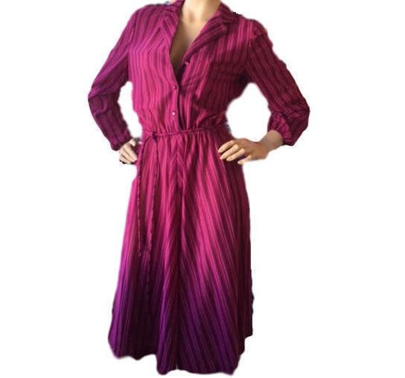 Sheer Secretary Dress Maroon Purple Vertical Strip