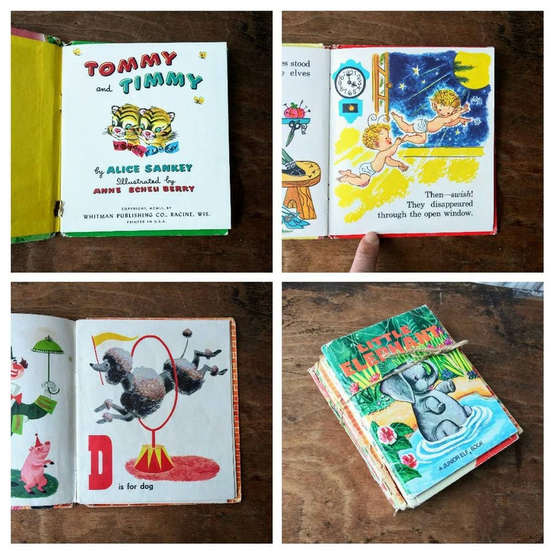 Vintage Junior Elf Tell A Tale Children S Books 7 Piece Lot Mid Century Elephant Zoo Animals Tiger Disney Pluto Little Lulu Elves Circus