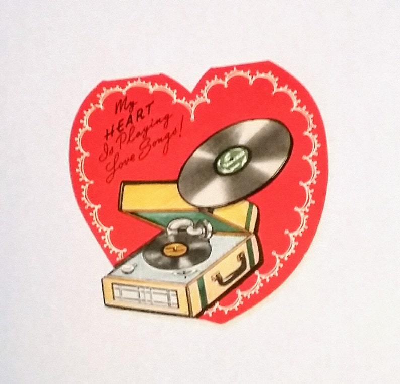 vintage valentine greeting card love song record player  etsy