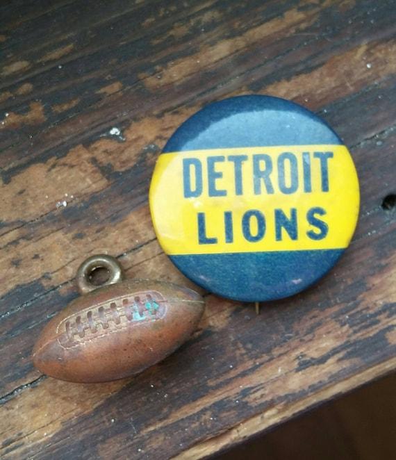 Vintage Pinback Button Badge Detroit Lions Origina