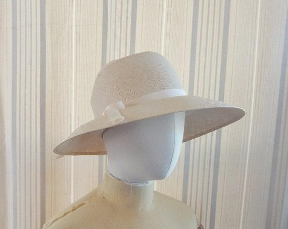 Straw Hat Floppy Fedora Grosgrain Bow Cream Ivory