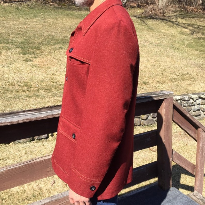 Vintage 70s Men/'s Leisure Suit Sport Jacket Coat Size 42 Leisure Maroon American Craftsmen Made in USA Fully Lined