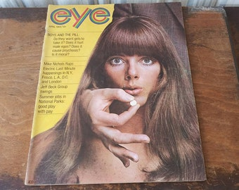 Vintage Magazine eye April 1969 Jeff Beck Counter Culture Happenings Rolling Stones Radio Fashion Beauty Music 60's Mid Century Ads Rock