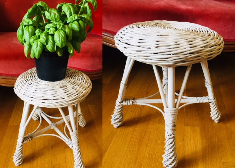 Awe Inspiring Wicker Stool Plant Stand Painted White Wicker Shabby Chic Rustic Round Small Indoor Outdoor Natural Vintage Onthecornerstone Fun Painted Chair Ideas Images Onthecornerstoneorg